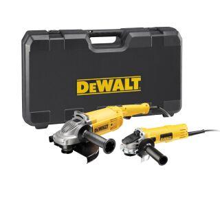 DeWalt Winkelschleifer Doppelset mit 2.200 Watt / 230mm und 900 Watt / 125mm Winkelschleifer DWE494TWIN-QS