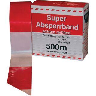 Absperrband Länge 500 m Breite 80 mm rot/weiß geblockt 500m/Karton