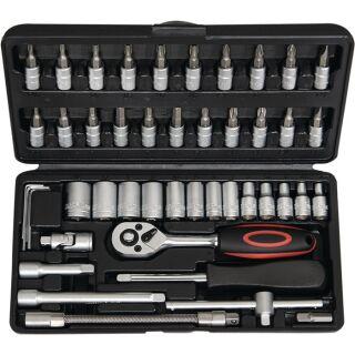 Steckschlüsselsatz 45-teilig 1/4 Zoll Schlüsselweiten 4-14 mm Anzahl Zähne 72 6-Kant NOW