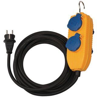 Schutzkontaktverlängerung mit Powerblock 5 m H07RN-F 3 x 1,5 mm² schwarz IP54 BRENNENSTUHL