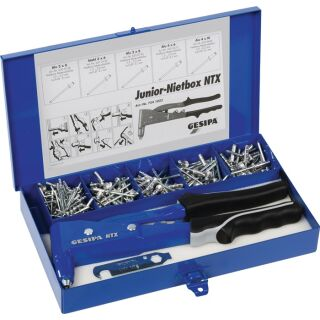 Blindnietsortiment Junior-Nietbox 352 teilig NTX u.Blindniete Alu/Stahl, Stahl/Stahl i.Blechkoffer GESIPA
