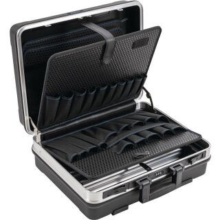 Schalenkoffer B500xT200xH420mm mit Werkzeugtaschen 29 l ABS-Kunststoff Alu-Rahmen PROMAT