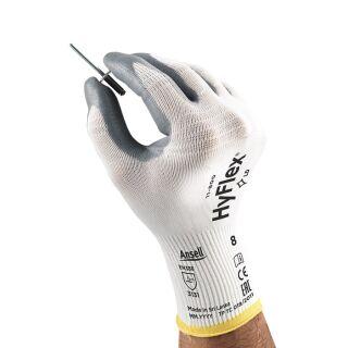 Handschuhe HyFlex 11-800  weiß/grau EN 388 PSA-Kategorie II Nylon m.Nitrilschaum ANSELL