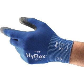 Handschuhe HyFlex® 11-618 blau/schwarz EN 388 PSA-Kategorie II Nylon m. Polyurethan ANSELL