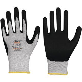 Handschuhe LeikaFlex® Touch 1464 grau/schwarz EN 388 PSA-Kategorie II Nylon/Karbon mit Mikro-Schaum-Nitril LEIPOLD