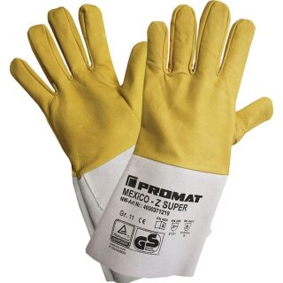 Schweißerhandschuhe Mexico Z Super gelb/grau Ziegennappa-/Spaltleder EN 388, EN 12477 PSA-Kategorie II PROMAT