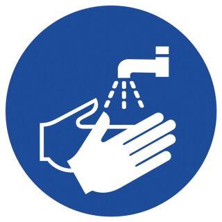 Gebotszeichen ASR A1.3/DIN EN ISO 7010 Hände waschen Folie