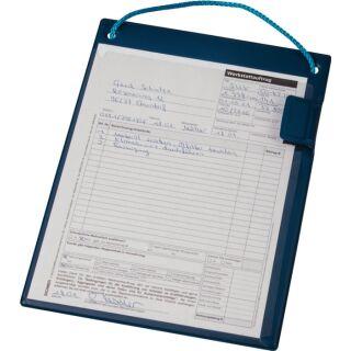 Auftragstasche mit Klettverschluss, Kordel u.Tasche DIN A4 LxHmm blau VE 10 Stück