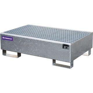 Auffangwanne 215 l L1200xB800xH360mm Stahlblech mit Gitterrost silber PROMAT