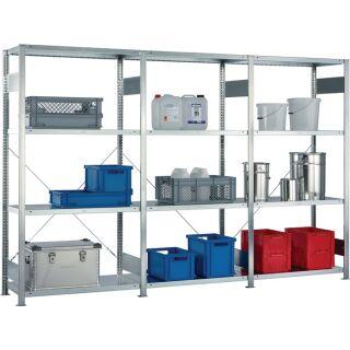 Steckregal H2000xB3000xT400mm Grund-/Anbauregal verzinkt 12 Stahlböden Tragfähigkeit 150 kg Feldlast 1650 kg META
