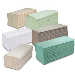 Falthandtücher grün 25 x 23 cm, ZZ-Falz, 5000 Tücher