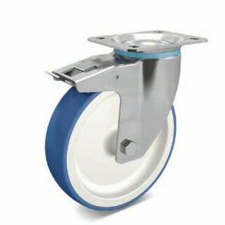 Lenkrolle PA/PU blau/weiß mit FSB Edelstahl mit Anschraubplatte
