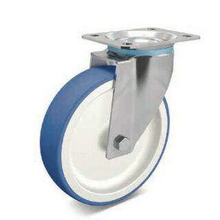 Lenkrolle PA/PU blau/weiß Edelstahl mit Anschraubplatte