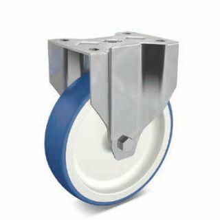 Bockrolle PA/PU blau/weiß Edelstahl mit Anschraubplatte