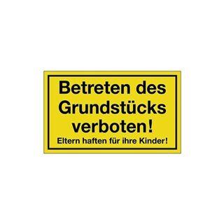 Hinweiszeichen Grundstück betreten verboten L250xB150 mm gelb schwarz Kunststoff